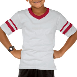 T-shirt listrado retro do V-Pescoço da luva da