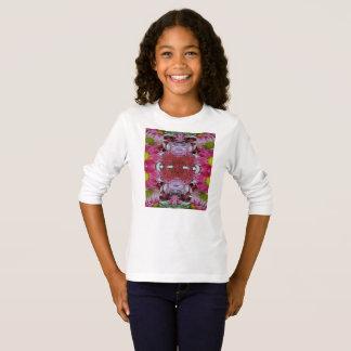 T-shirt longo básico da luva das meninas camiseta