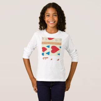 T-shirt longo básico da luva das meninas do camiseta