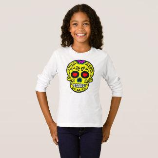 t-shirt longo básico da luva das meninas mexicanas camiseta