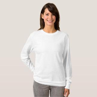 T-shirt longo básico da luva das mulheres camiseta