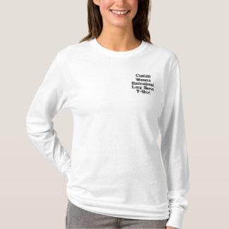 T-shirt longo bordado da luva das mulheres feitas