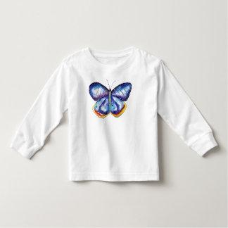 T-shirt longo da luva da criança azul da camiseta infantil