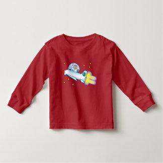 T-shirt longo da luva da criança do astronauta camiseta infantil