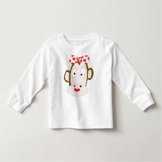 T-shirt longo da luva da criança do Ela-Macaco