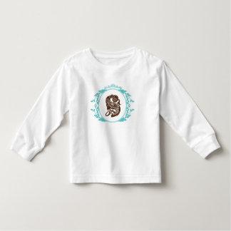 T-shirt longo da luva da criança do monograma da