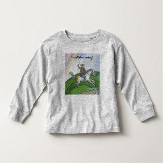 """T-shirt longo da luva da criança do """"vaqueiro"""" camiseta infantil"""