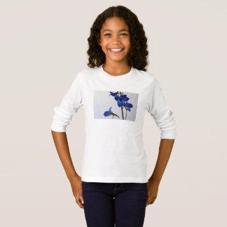 t-shirt longo da luva das meninas - branco camiseta