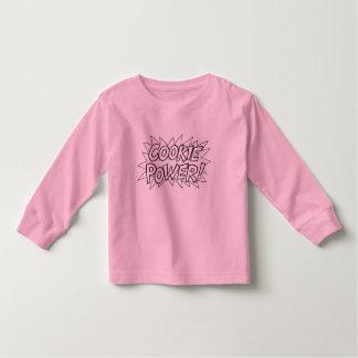 T-shirt longo da luva das meninas do poder do