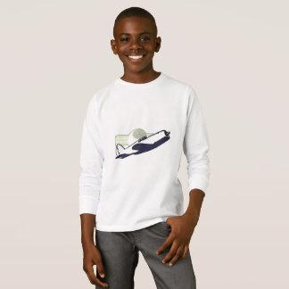 T-shirt longo da luva do avião do vintage camiseta