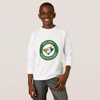 T-shirt longo da luva do logotipo do círculo de camiseta