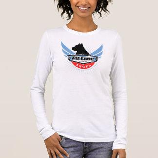 T-shirt longo da luva dos anjos do pitbull camiseta manga longa