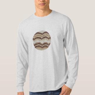 T-shirt longo da luva dos homens com mosaico bege