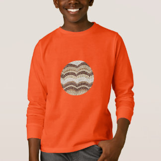 T-shirt longo da luva dos miúdos bege do mosaico