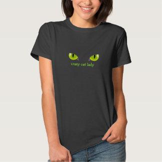 T-shirt louco dos olhos da senhora gato do gato