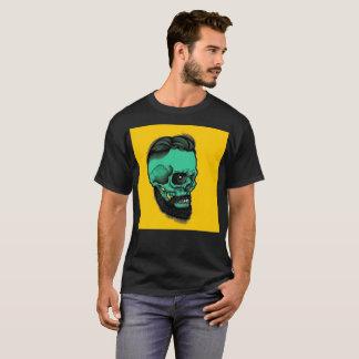T-shirt moderno da barba do crânio do verde camiseta