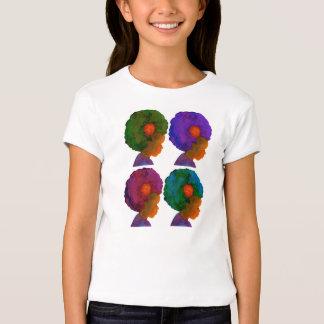 T-shirt multicultural de 4 meninas da silhueta do