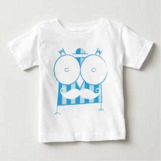 T-shirt Mustached da coruja com um chapéu (azul &