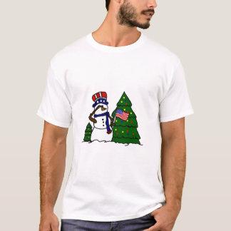 T-shirt patriótico do boneco de neve do Natal Camiseta