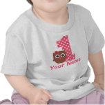 T-shirt personalizado coruja da menina do primeiro