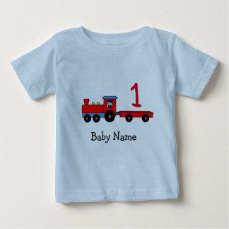 T-shirt personalizado primeiro aniversario do trem camiseta para bebê
