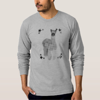 T-shirt preto & branco da arte Starring da alpaca Camiseta