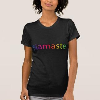 T-shirt preto da ioga das mulheres de Namaste do Camiseta