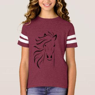 T-shirt preto da menina do cavalo selvagem camiseta