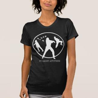 T-shirt preto das senhoras das meninas da dança de camiseta