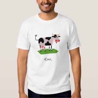 T-shirt preto e branco da vaca dos desenhos