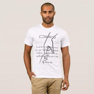 T-shirt preto e branco do esboço da mão do dia dos camiseta