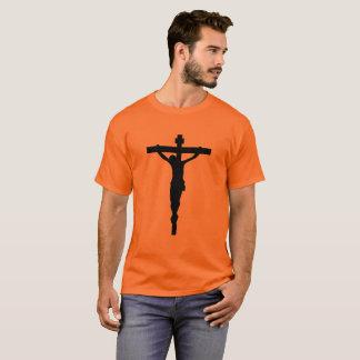 T-shirt preto Jesus católico cristão do crucifixo Camiseta