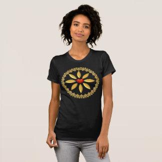 T-shirt projetados e decorar-Ouro e coração Camiseta