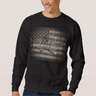 T-shirt rachado da parede da bandeira americana do moletom