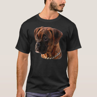 T-shirt rajado do filhote de cachorro do pugilista camiseta