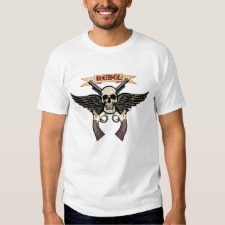 T-shirt rebelde do crânio
