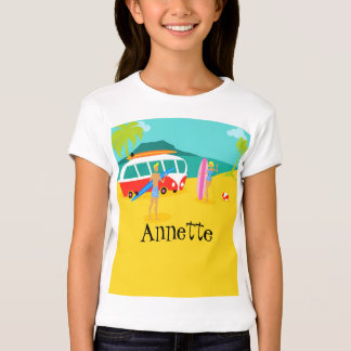 T-shirt retro customizável do casal do surfista