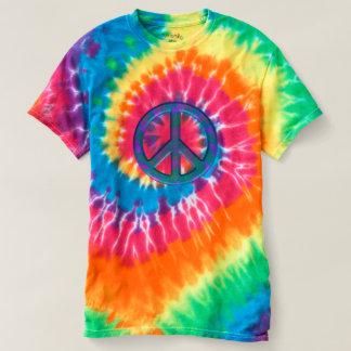 T-shirt retro da Laço-Tintura do sinal de paz Camiseta