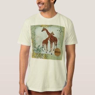 T-shirt retro do pai do mapa dos girafas