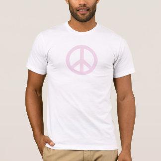 T-shirt rosa pálido do sinal de paz camiseta