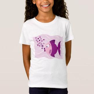 T-shirt roxo das meninas da composição dos peixes camiseta