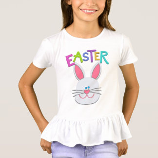 T-shirt Ruffled coelhinho da Páscoa das meninas Camiseta