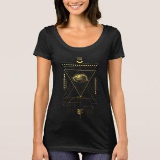 T-shirt sagrado do pescoço da colher da geometria camiseta