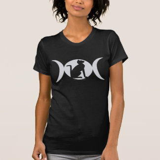 T-shirt triplo do gato da lua camiseta