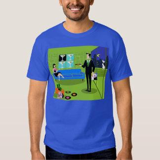 T-shirt urbano retro do casal dos desenhos