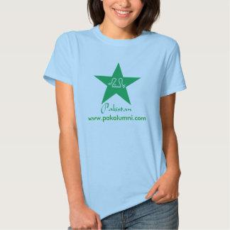 T-shirt verde das senhoras da estrela de Paquistão
