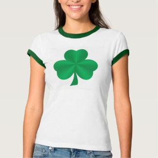 T-shirt verde das senhoras do trevo do cetim