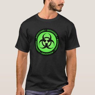 T-shirt verde do símbolo do Biohazard