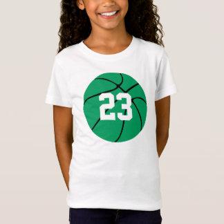 T-shirt verde feito sob encomenda do basquetebol camiseta