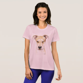 T-shirt vermelho da arte do cão do pitbull do camiseta